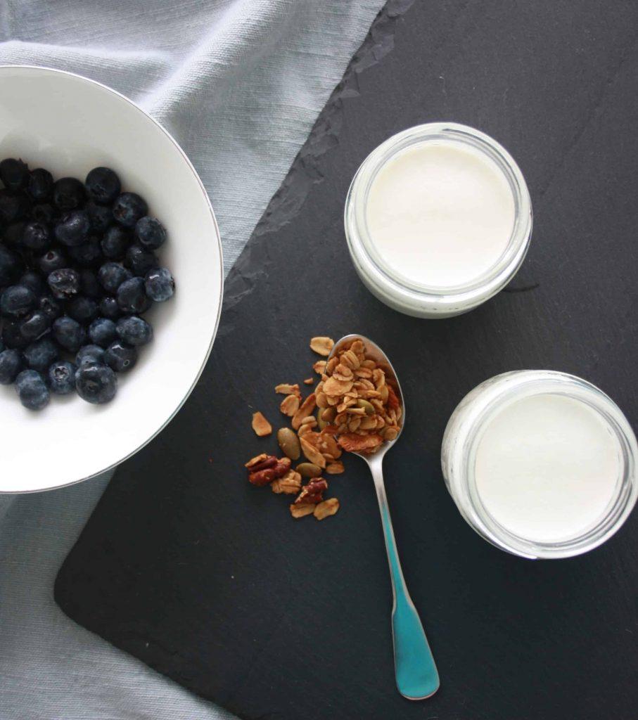 homemade yogurt in glass jar with granola and blueberries