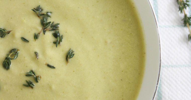 Zucchini, cashew, thyme soup