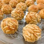 round panellets of pine nuts, almond and coconut