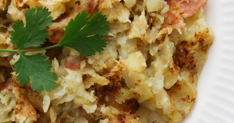 Cabbage, potato and bacon mash