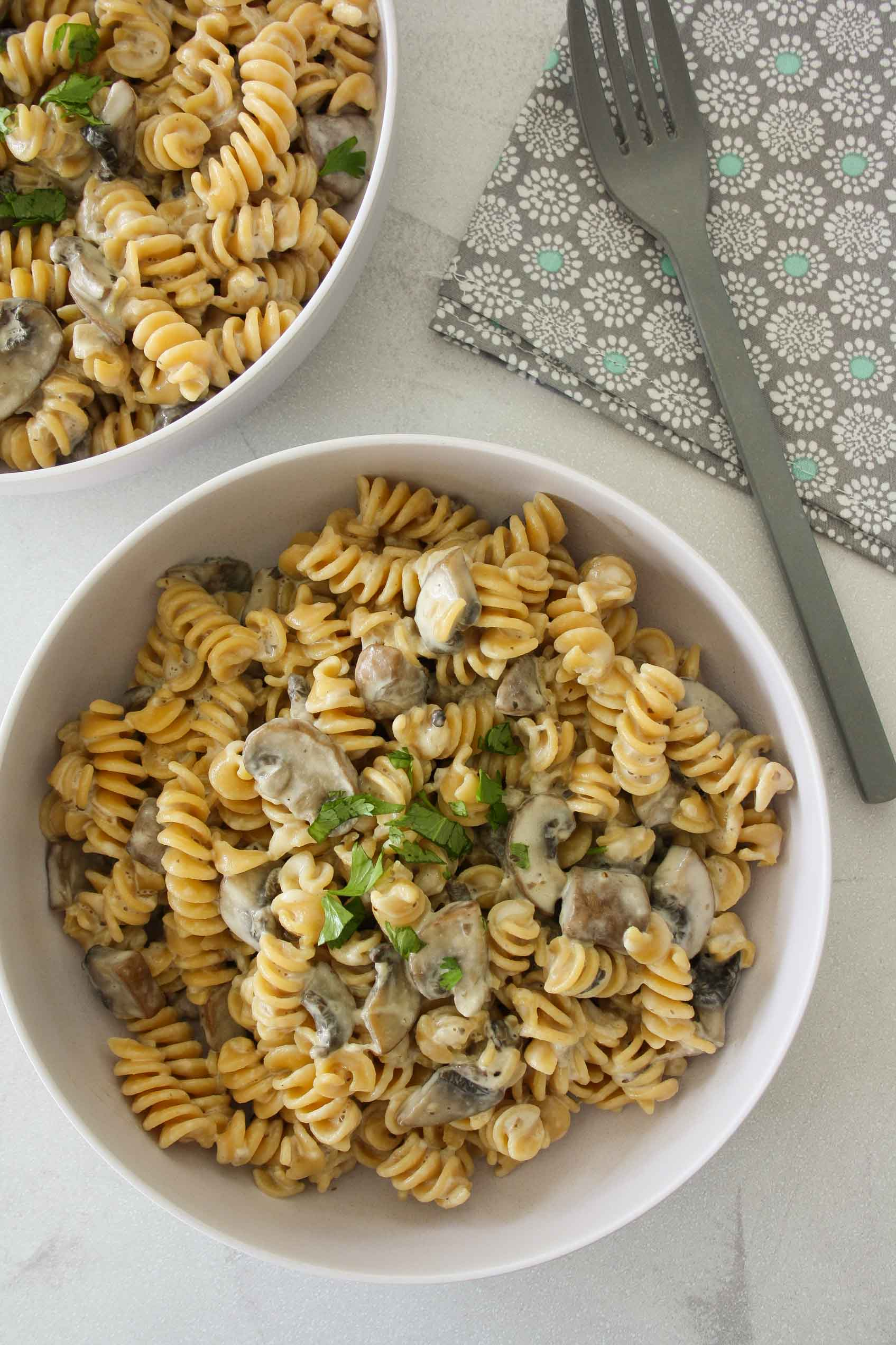 chickpea pasta with creamy mushroom sauce in a bowl