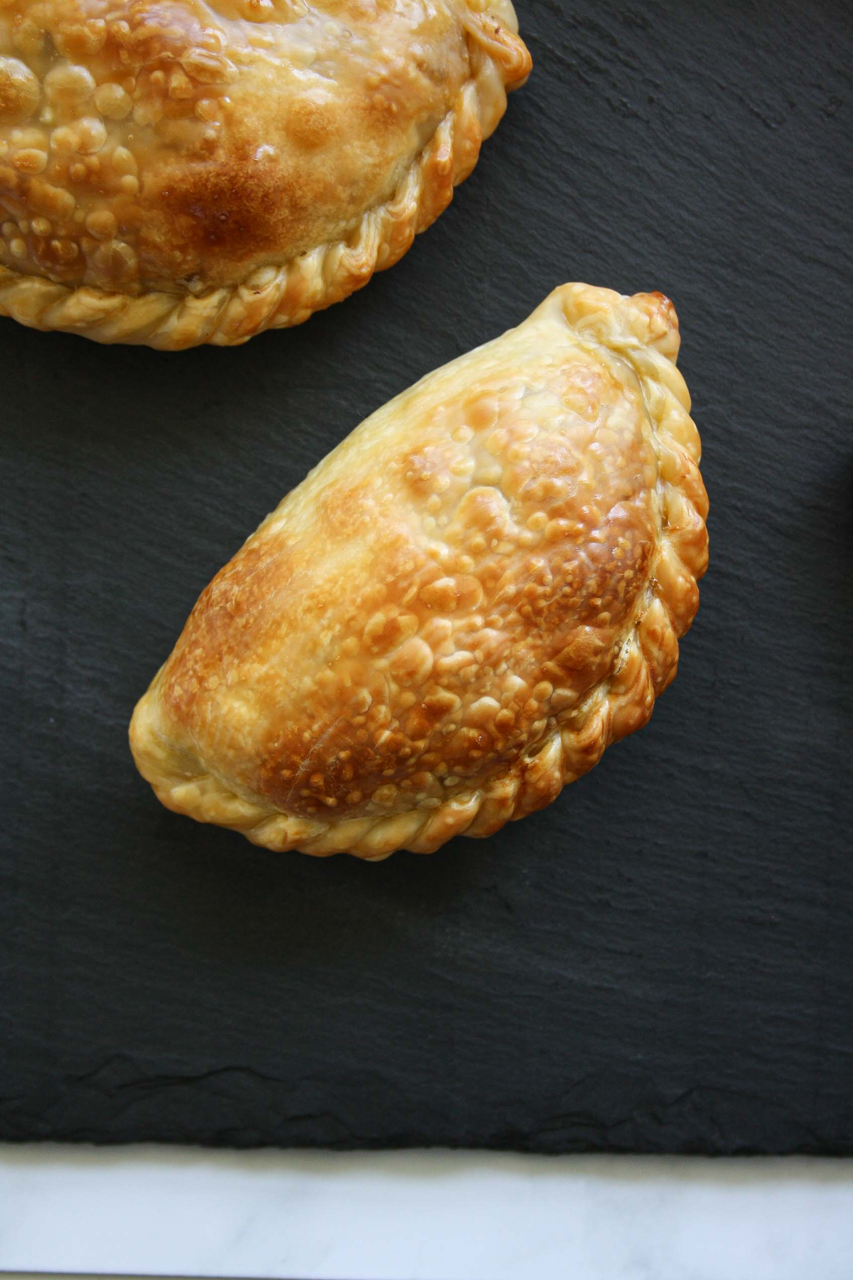 close up from above of a beef empanada