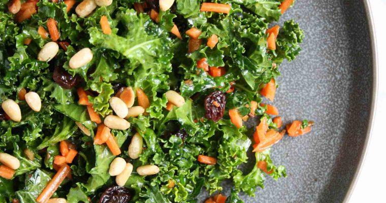 Carrot raisin kale salad