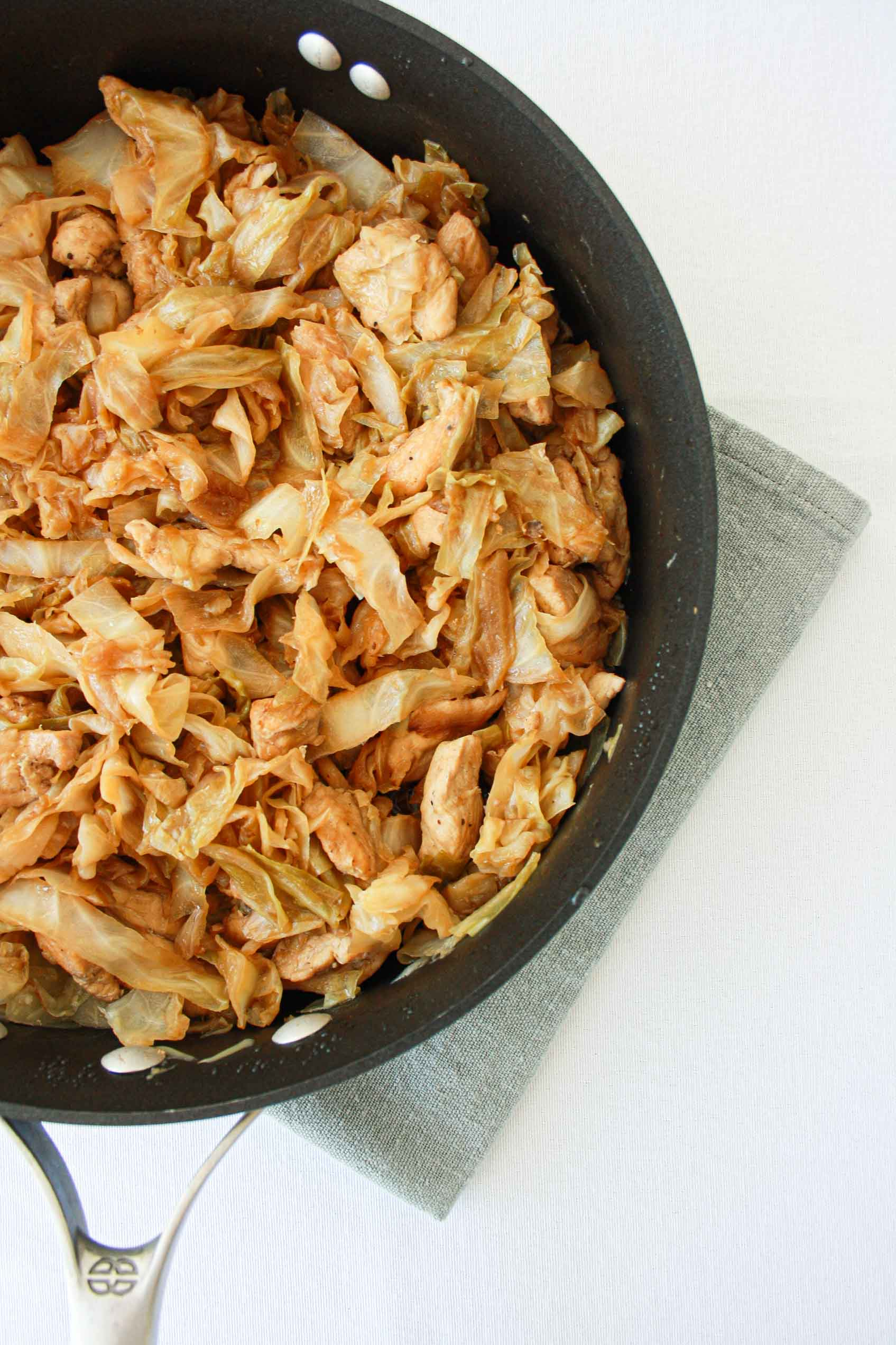 pan with chicken cabbage and soy sauce