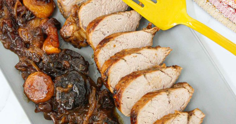 Pork tenderloin with dried apricots, raisins and prunes