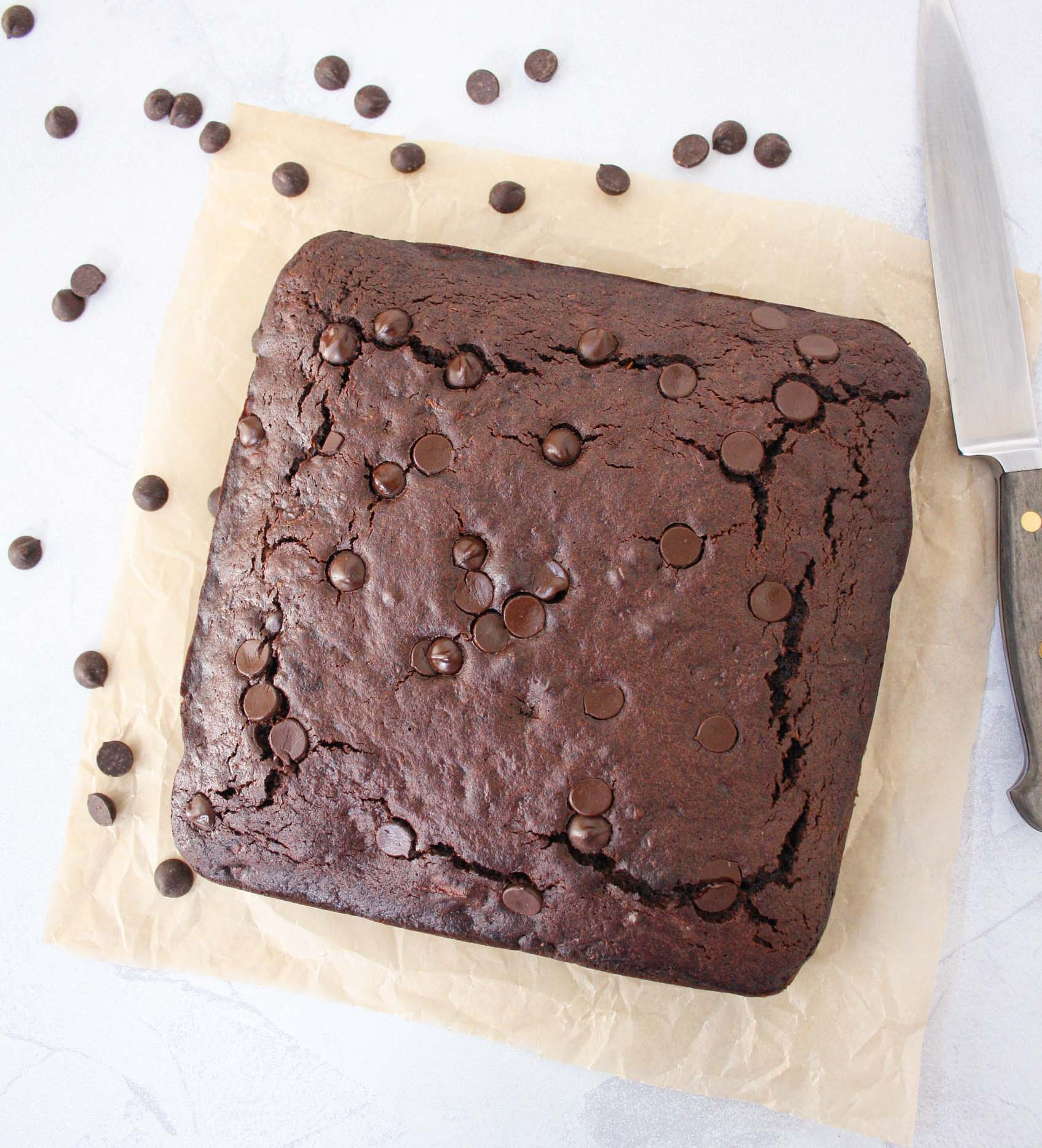 square chocolate zucchini cake from above